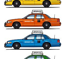 4 Color Crown Vic Cabs by Tom Mayer