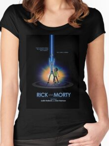 Rick and Morty in Dimension Tron Women's Fitted Scoop T-Shirt