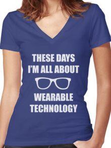 Sonic Sunglasses - White Women's Fitted V-Neck T-Shirt