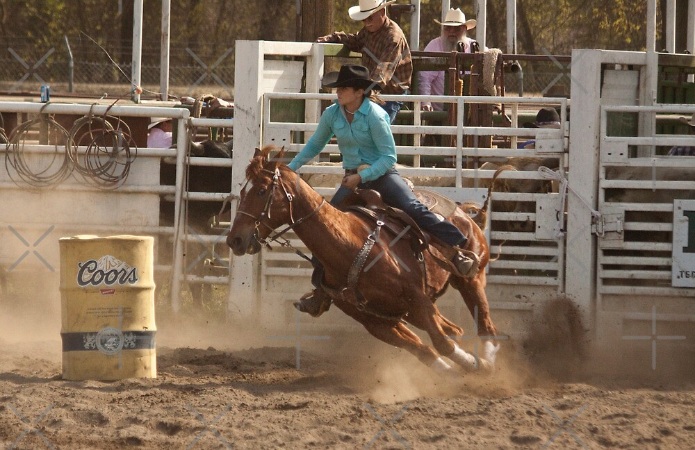 Rodeo Cowgirl Competes in Barrel Racing Event by Buckwhite