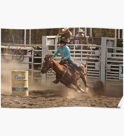 Rodeo Cowgirl Competes in Barrel Racing Event Poster