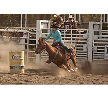 Rodeo Cowgirl Competes in Barrel Racing Event Photographic Print