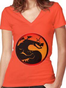 Trogdor Kombat Women's Fitted V-Neck T-Shirt