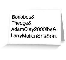 U2: Band Member Names Greeting Card