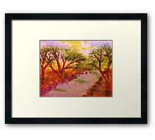 Enjoying summer by the water and trees, watercolor Framed Print