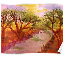 Enjoying summer by the water and trees, watercolor Poster