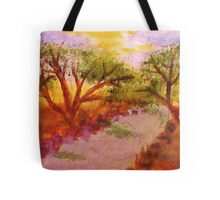Enjoying summer by the water and trees, watercolor Tote Bag