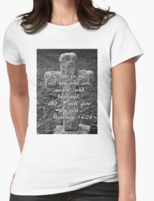 Stone Cross with Verse Womens Fitted T-Shirt