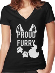 PROUD FURRY Women's Fitted V-Neck T-Shirt