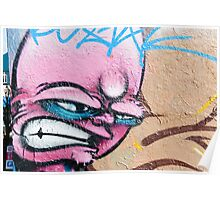 Angry Face Graffiti on a textured Wall Poster