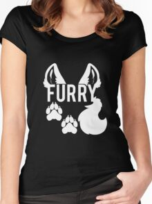 FURRY -white text- Women's Fitted Scoop T-Shirt