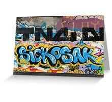 Abstract Graffiti on the grunge textured Brick Wall Greeting Card