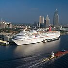 Mobile Skyline & Cruise Ship by Tad Denson