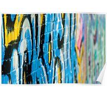 Abstract Graffiti Closeupon the textured Brick Wall Poster