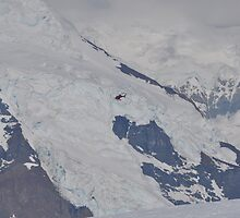 helicopter coming around for a landing on glacier at McKinley by itzonlymetoo