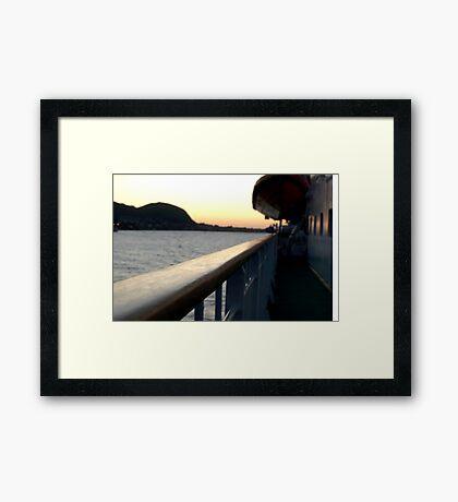 trondheim ferry at dusk Framed Print