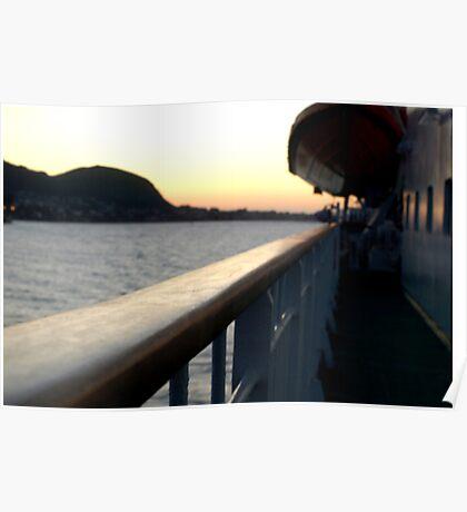 trondheim ferry at dusk Poster