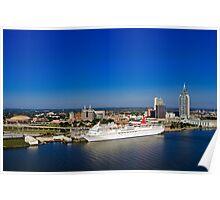 Mobile, Alabama Skyline - With Cruise Ship Poster