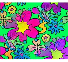 Retro Trippy Flowers-Bright Photographic Print