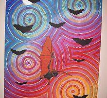 fruit bat on the move by Derek Trayner