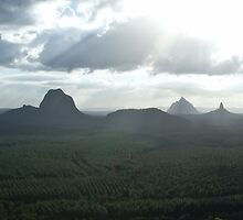 Sun Shine on the Glass House Mountains by StupidBeagle