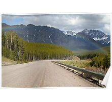 Rainbow above road Poster