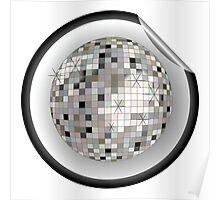 Disco ball black sticker Poster