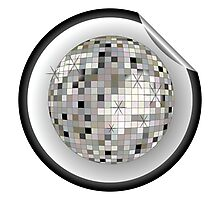 Disco ball black sticker Photographic Print