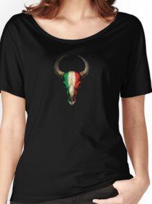 Italian Flag Bull Skull Women's Relaxed Fit T-Shirt