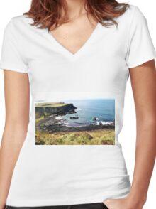 Volcanic Beach Women's Fitted V-Neck T-Shirt