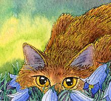 Cat stalking through the harebells by SusanAlisonArt