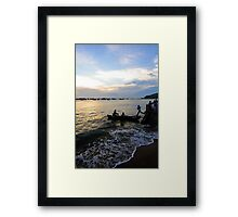 Man leaps across water to boat. Hang Dua Bay, Vung Tau, Vietnam Framed Print