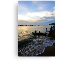 Man leaps across water to boat. Hang Dua Bay, Vung Tau, Vietnam Canvas Print