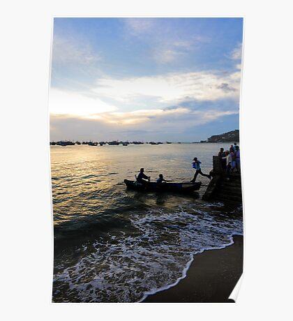 Man leaps across water to boat. Hang Dua Bay, Vung Tau, Vietnam Poster