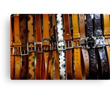 Leather belts for sale. Canvas Print