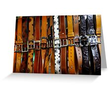 Leather belts for sale. Greeting Card