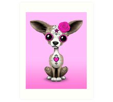 Pink Day of the Dead Sugar Skull Chihuahua Puppy Art Print