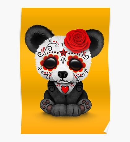 Red Day of the Dead Sugar Skull Panda on Yellow Poster