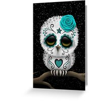 Cute Teal Blue Day of the Dead Sugar Skull Owl Greeting Card