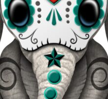 Teal Blue Day of the Dead Sugar Skull Baby Elephant Sticker