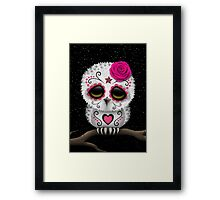 Cute Pink Day of the Dead Sugar Skull Owl Framed Print