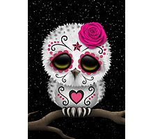 Cute Pink Day of the Dead Sugar Skull Owl Photographic Print