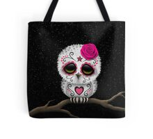 Cute Pink Day of the Dead Sugar Skull Owl Tote Bag