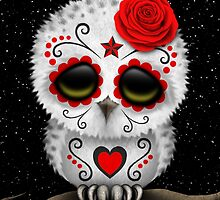 Cute Red Day of the Dead Sugar Skull Owl by Jeff Bartels