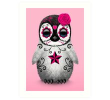 Pink Day of the Dead Sugar Skull Penguin  Art Print