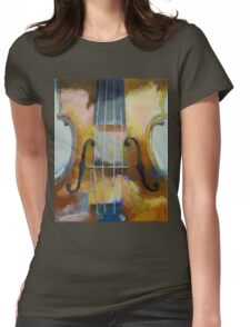 Violin Painting Womens Fitted T-Shirt
