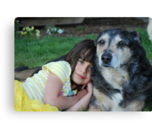 Sarah and her new-old friend Canvas Print