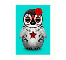Red Day of the Dead Sugar Skull Penguin  Art Print