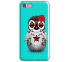Red Day of the Dead Sugar Skull Penguin  iPhone Case/Skin
