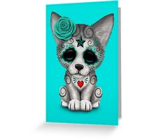 Blue Day of the Dead Sugar Skull Wolf Cub Greeting Card